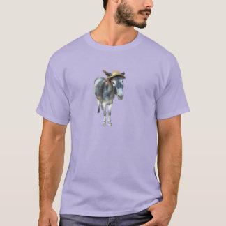 Camiseta Violeta o asno no chapéu de palha com flores