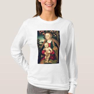 Camiseta Virgin e criança sob uma árvore de Apple
