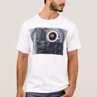 Camiseta Vista superior de uma chávena de café branca e de