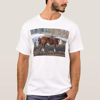 Camiseta Vitelas de Hereford no prado do inverno com neve