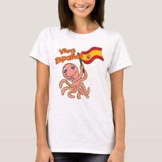 Camiseta Viva Espana com o Tshirt do futebol do polvo