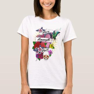 Camiseta Vive o tatuagem Tanktop do amor do riso