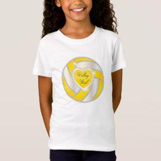 Camiseta Voleibol amarelo brilhante do coração elegante do