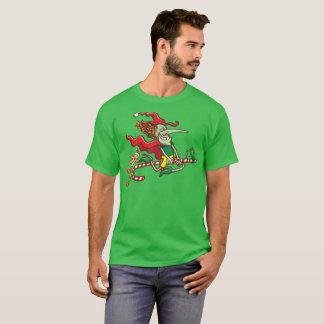 Camiseta Vôo da bruxa do Dia das Bruxas em um bastão de