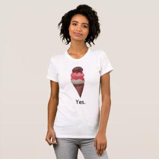 Camiseta Voto sim para o sorvete (mulheres)