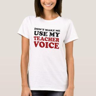 Camiseta Voz engraçada vermelha e preta do professor