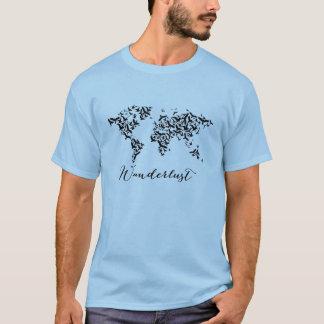 Camiseta Wanderlust, mapa do mundo com pássaros de vôo