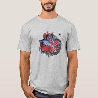 Camiseta Watercolour & lápis de combate Siamese dos peixes