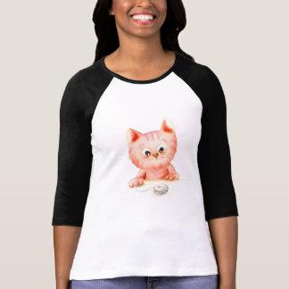 Camiseta Watercolour: t-shirt curioso do gatinho