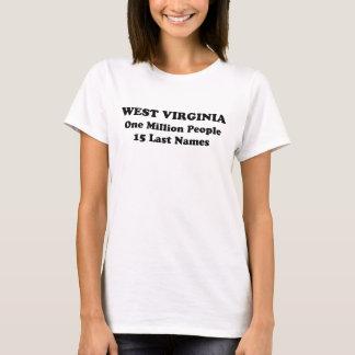 Camiseta West Virginia um milhão de pessoas 15 sobrenomes