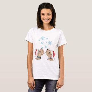 Camiseta Wheatens e flocos de neve