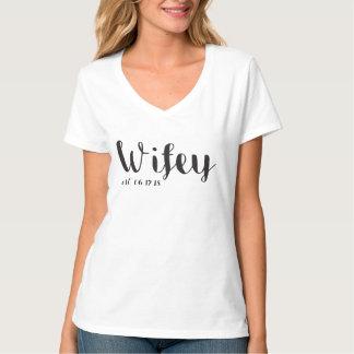 Camiseta Wifey & T feito sob encomenda da lua de mel do