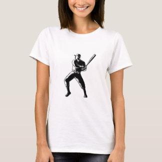 Camiseta Woodcut da batedura do jogador de beisebol preto e