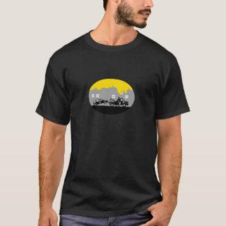 Camiseta Woodcut do Oval das construções do carro de