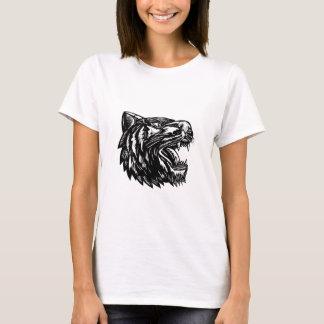 Camiseta Woodcut do tigre da rosnadura preto e branco