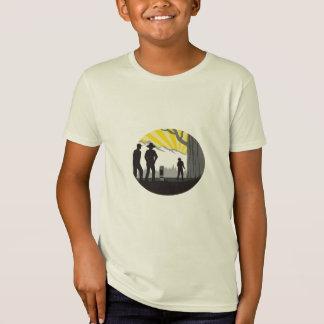 Camiseta Woodcut gigante do Oval da árvore do marcador da