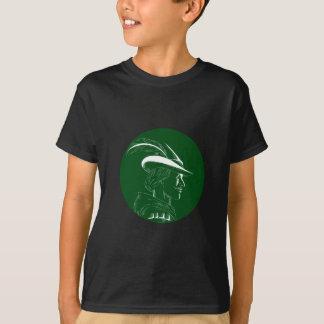 Camiseta Woodcut lateral do círculo do perfil de Robin Hood