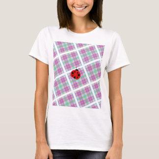 Camiseta Xadrez cor-de-rosa e roxa com senhora Desinsetar