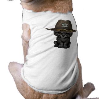 Camiseta Xerife bonito de Cub da pantera preta do bebê