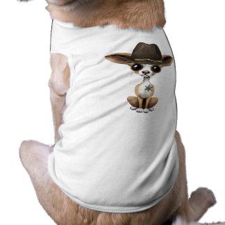 Camiseta Xerife bonito do filhote de cachorro da chihuahua