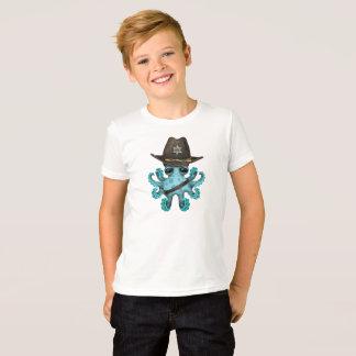 Camiseta Xerife bonito do polvo do bebê azul