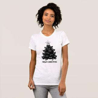 Camiseta Xmas bonito da árvore do gato do Natal engraçado