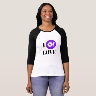 Camiseta Yahoo! 3/4 de t-shirt do Raglan da luva