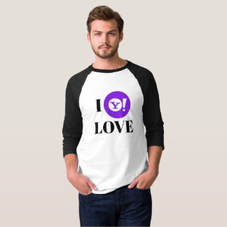 Camiseta Yahoo! T-shirt do Raglan da luva do fã 3/4