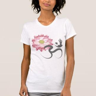 Camiseta Zen branco do símbolo do OM da ioga cor-de-rosa da