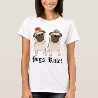 Camisetas do Pug do rei e da rainha da regra dos