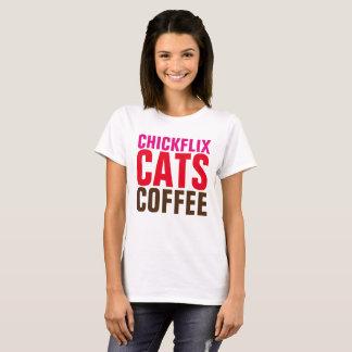 Camisetas engraçadas das senhoras, CHICKFLIX, CAFÉ