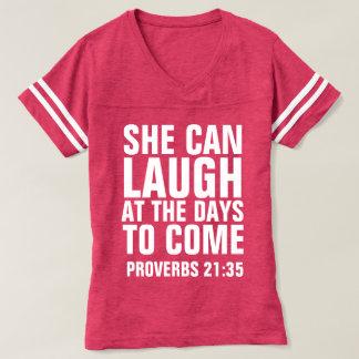 Camisetas femininas cristãs das senhoras, PODE RIR