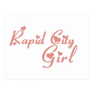 Camisetas rápidas da menina da cidade cartão postal