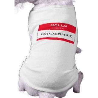 Camisola de alças bonito do cão da dama de honra d camisa sem mangas para cachorro