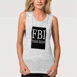 Camisola de alças da colheita do FBI Regata Muscle Flowy