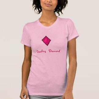 Camisola de alças de brilho do diamante t-shirt