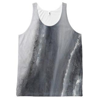 Camisola de alças preto e branco do abstrato da regata com estampa completa