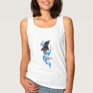 Camisola de alças tribal do branco do golfinho regata basic