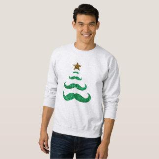 camisola dos homens da árvore de Natal do bigode Moletom