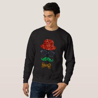 camisola dos homens do bigode do hipster do Natal Moletom