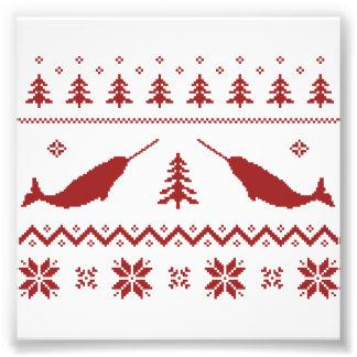 Camisola feia do Natal de Narwhal Impressão De Foto