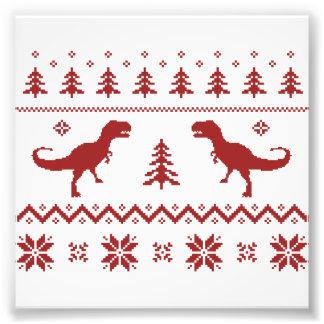 Camisola feia do Natal do dinossauro de T-Rex Impressão Fotográficas