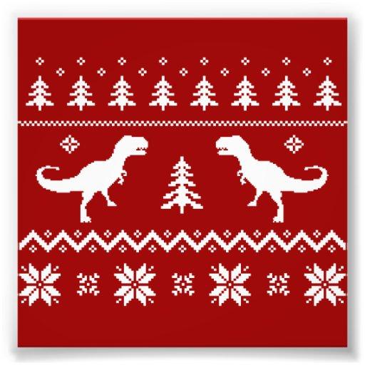 Camisola feia do Natal do dinossauro de T-Rex Fotografia