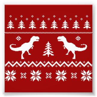Camisola feia do Natal do dinossauro de T-Rex Impressão De Foto
