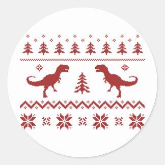 Camisola feia do Natal do dinossauro de T-Rex Adesivo Redondo