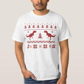 Camisola feia do Natal do dinossauro de T-Rex Camiseta