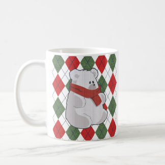 Camisola feia do Natal do urso polar da xadrez Caneca De Café