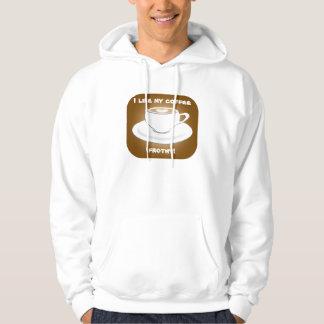 Camisola Frothy do Hoodie do café Moleton Com Capuz