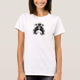 camisola interioa de esqueleto das senhoras do camiseta