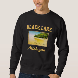 Camisola preta do cartão do Lago Michigan Moletom